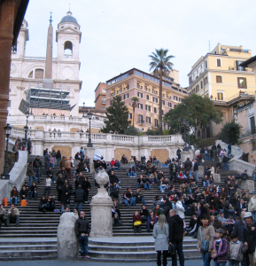 Visitors gather on the Spanish Steps in Rome