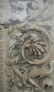 Marble detail of carved foliage in an Italian garden.