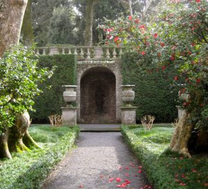 Experience the beauty of the Italian garden.  Walk down this path to the arch beyond.