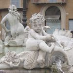 In a Rome fountain, Cupid wrestles with a fish, while the nymph beyond looks for Poseidon..