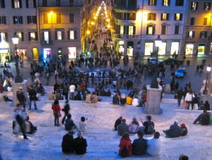 Looking down the Spanish Steps in Rome on a winter evening.
