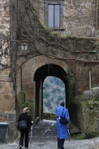 Walking through the arch.