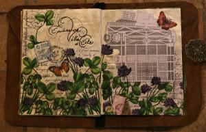 Flowers, butterflies and a garden emerge from an art journal meditation.