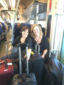 Linda and Barbara on the metro train from Rome's airport to Rome's main train station.